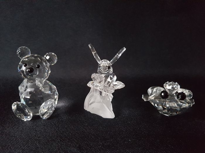 Set of 3 Swarovski figurines   - Crystal Bee on Flower , Prince frog , Teddy Bear