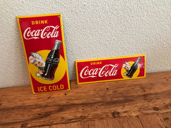 2 enamel Cola Cola advertising signs repro period 1995