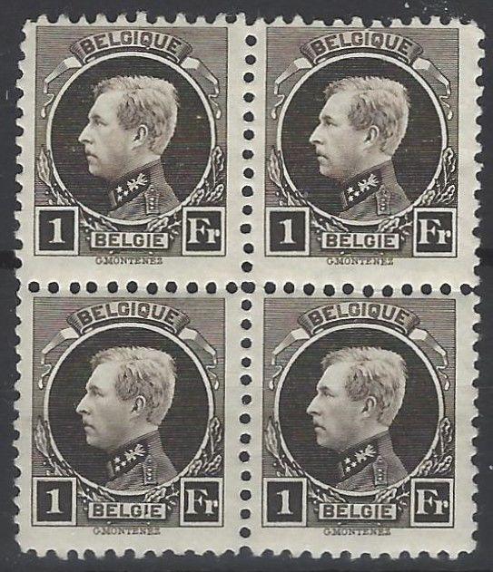 Belgium 1922 - 1 Fr Black brown in block of 4 - Albert I Small type Montenez perforation 11 x 11½ – OBP no. 214B