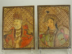 Very fine painting on ivory of Shah Jahan and Mumtaz - India - circa 1900