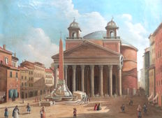 Anonimo follower of Ippolito Caffi - Veduta del Pantheon a Roma