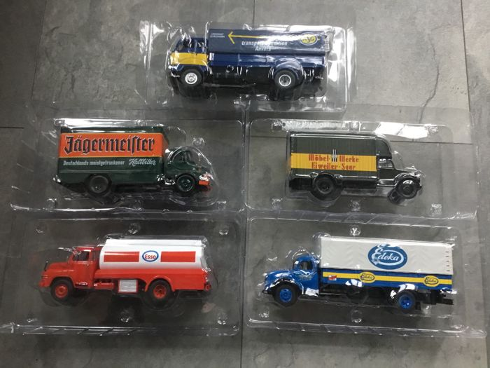 Altaya-Ixo - Scale 1/43 - lot with 5 different trucks: Opel, Man, Volvo, Mercedes & Magirus