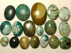 Tibet turquoise cabochons - 325 cts