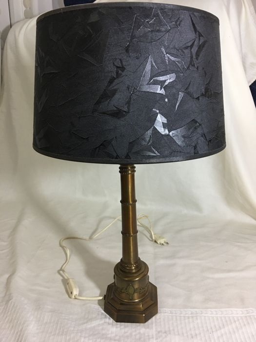 Royale Spanish lamp with patinated bronze base and black lampshade