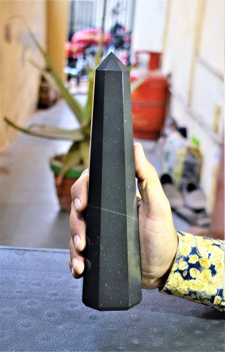 Black Tourmaline Eight Faceted Obelisk Tower - 245 mm - 1200 gm