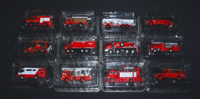Del Prado - Scale 1/43-1/87 - Lot composed of 12 fire engines: