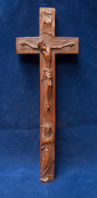 A very rare boxwood cross with exceptional carving in the style of El Greco (1541-1614) - 18th century