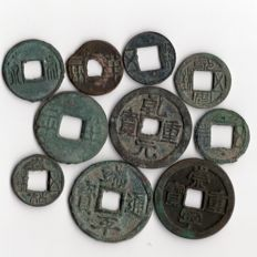 China - Lot of collection from Pre Qin (starting from 350 B.C.) to Southern Song dynasty 1279 (10 coins)