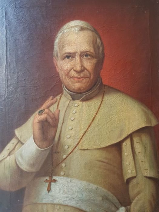 A 19th century Religious Painting, Pius IX, probably from France - signed - no reserve price