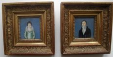 Clement - Pair of French School Portrait Miniatures, Signed.