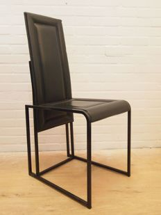 Designer Unknown - Italian Style Chair - Black Leather