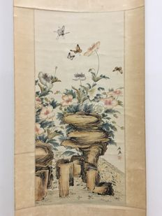 A water ink painting, butterfly surround rock - China - late 20th century