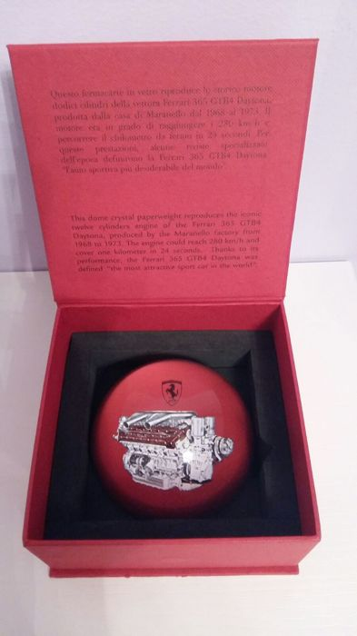Ferrari glass paperweight in box plus set of pencils with