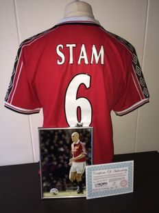 Jaap Stam / Manchester United - Hand Signed Photo & Official Man Utd home Shirt 98/99 + COA.