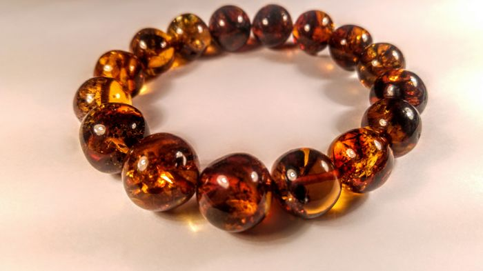 100% Genuine Baltic amber bracelet, hole ca. 62 mm