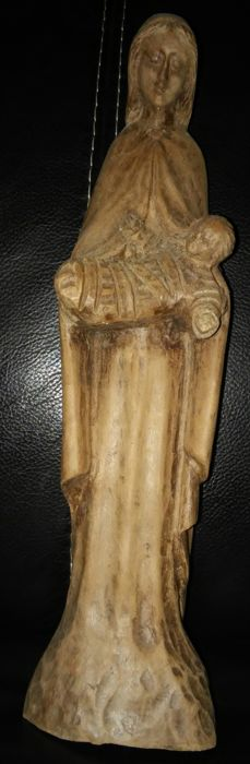 Old Virgin and Child carved in wood, signed LACOME