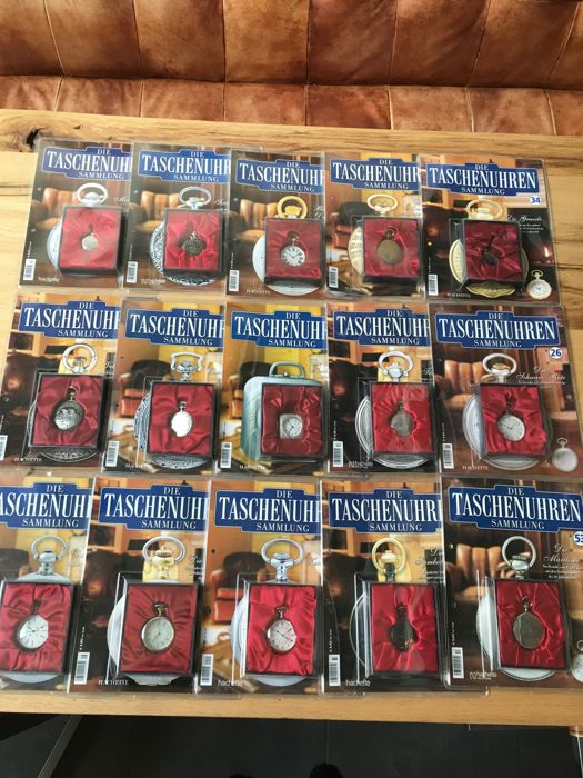 """Collection of 15 """"Hachette"""" pocket watches"""