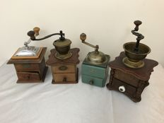 Four coffee grinders