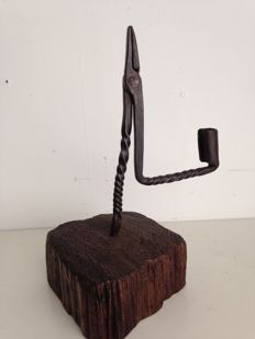 Wrought-iron candlestick on so-called base of bog-wood - end of 17th century / early 18th century