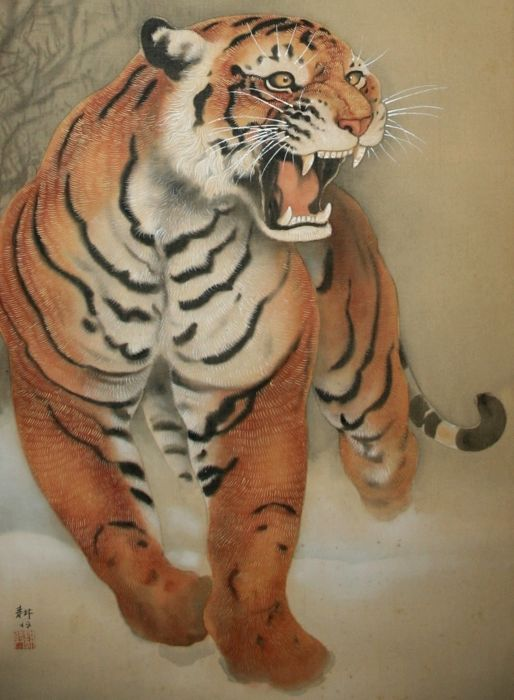 "Scroll painting signed and sealed 'Koun' - ""Tiger in the snow"" - Japan - First half 20th century"
