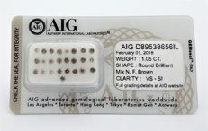 1.05 carat - 25 Diamonds -   Mix N.F Brown  color - VS - SI clarity - Round Brilliant -  AIG   SEALD + AIG Certificate , *** NO RESERVE *** .