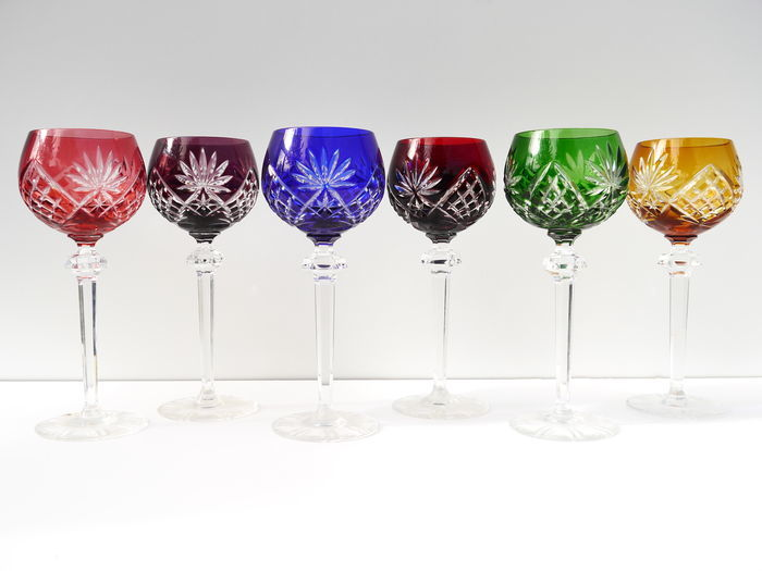 A Set Of Six Coloured Cut Crystal Wine Glasses Catawiki