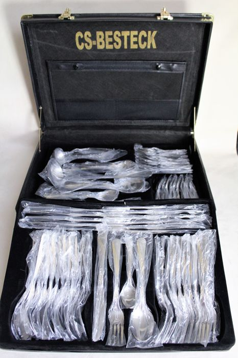 Luxurious 72-piece gold-plated cutlery set from the CS company - in a lockable leather case - top condition