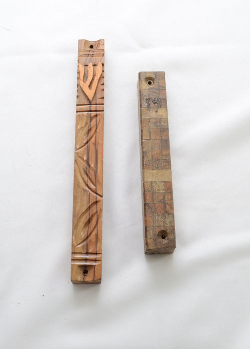 Judaica - 2 Mezuzah cases - olive wood - hebrew - carvings & mosaic pattern -  Israel - 20th century