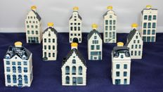10 KLM Delft Blue Business Class houses - Bols - full series #41-50. Including Rembrandt House Museum and Anne Frank House