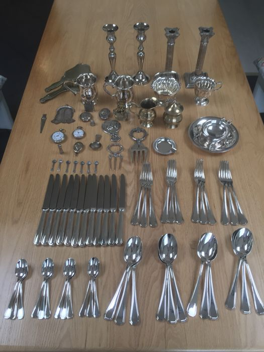 Collection silvered objects