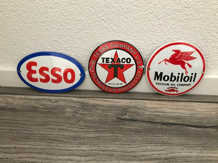 Enamel signs Esso, Texaco, Mobiloil repro from the late 1990s