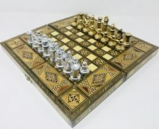 Staunton chess with inlaid wood board
