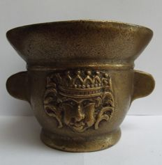 Bronze mortar - face of a king with crown