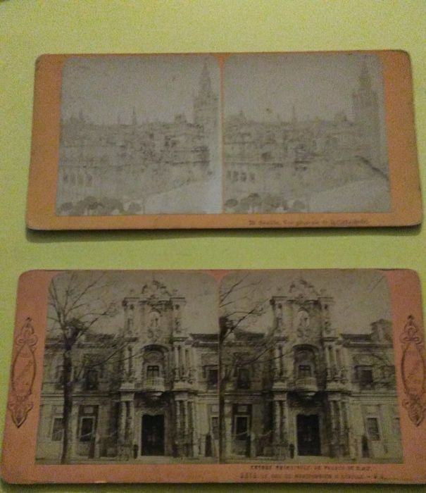 Spain, lot of 8 stereoscopic photographs, Seville, Valencia, Granada and other regions, 1900-1920