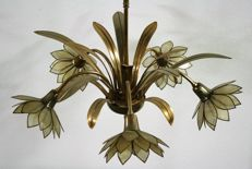 Unknown designer - Brass and mother of pearl flower chandelier