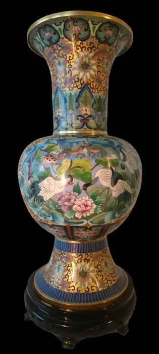 Exceptionally Large Champlev Vase China 2nd Half Of The 20th