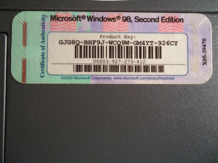 Windows 98 Second Edition Oem Product Key