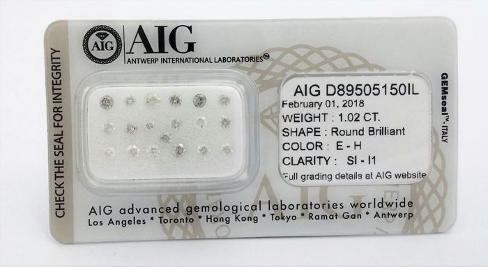 1.02 carat - 19 Diamonds -   E - H  color - SI - I1 clarity - Round Brilliant -  AIG   SEALD + AIG Certificate , ***LOW RESERVE***.