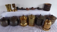 Collection of antique yellow copper tobacco- cigar jars, pipes, 16 parts.