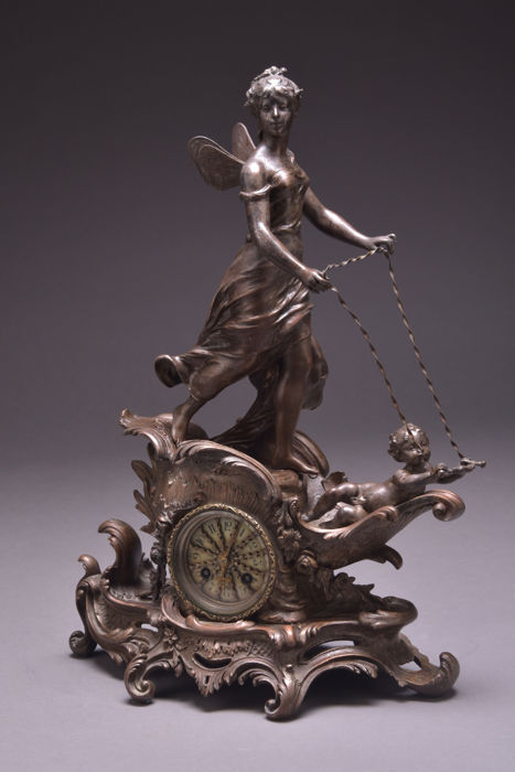 Large antique French mantel clock - Japy Freres movement and pendulum - with putti, and signed - 19th century
