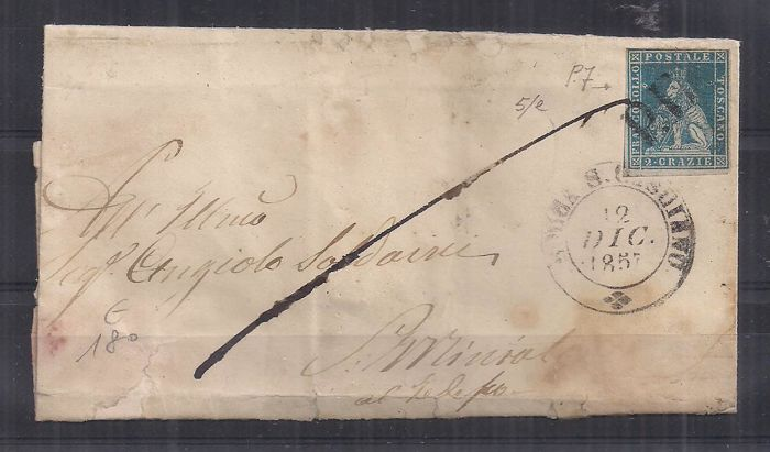 Tuscany 1857 - 2 crazie Greenish blue on grey on letter from Rocca S. Casciano to San Miniato - Sass.