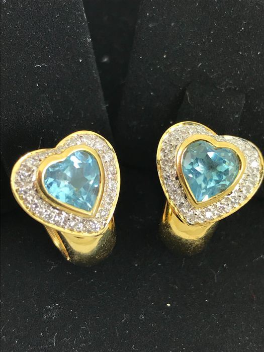 2ct topaz and diamonds 18ct gold earrings;  total size 1,7cm x  1,40cm