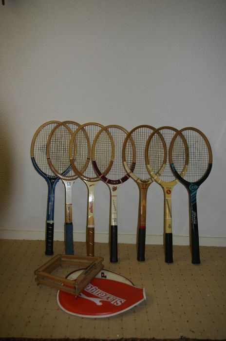 Collection of seven vintage tennis rackets