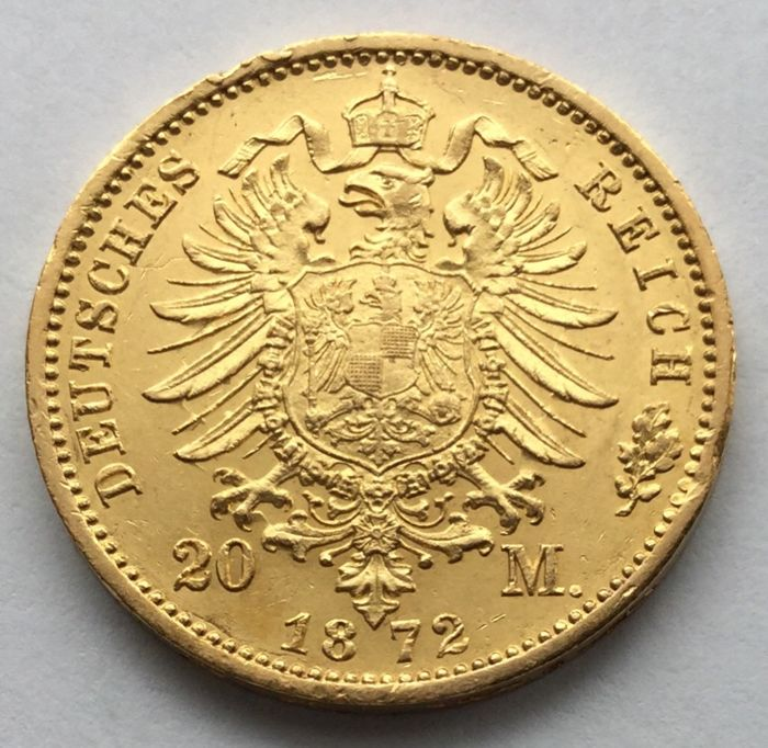 Germany (Prussia) - 20 Mark 1872 B - Wilhelm I - gold