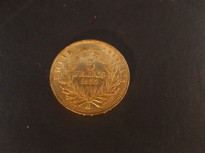 France - 5 Francs 1855 A - Napoleon III - gold