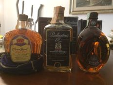 3 bottles - Crown Royal 10 years old 1981 & Dimple 12 years old 1982 & Ballantine's 12 years old 1983