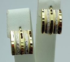 14 Ct Yellow & White Gold Earring, length 14mm, Total Weight 1.90g