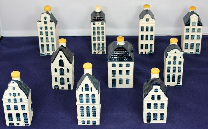 10 KLM Delft Blue Business Class houses - Bols - full series #51-60