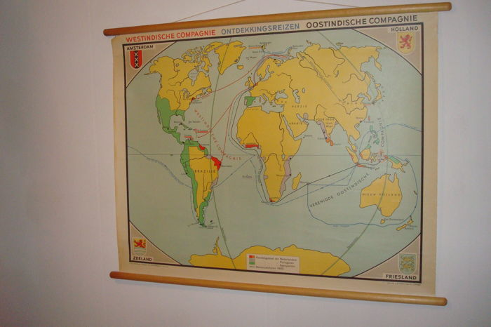 Beautiful Historical Wall Map VOYAGES Of West And East India Company - Historical wall maps