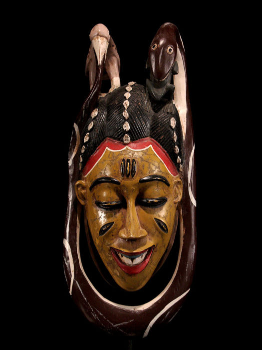 Fine Guro Mask with Headed Snake and Bird - Ivory Coast